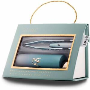 LA TWEEZ Pro Illuminating Tweezers w/Diamond Dust Tips New in Box Emerald Ombre