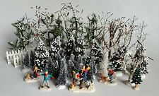 47 Pc LEMAX Accessories Lot Christmas Snow Village Trees, People, Fence, etc