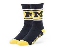 Michigan Wolverines Socks '47 Brand Duster Large Navy Men's 9-13 Women's 10-12