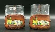 2 Whiskey Rocks Glasses Tumblers w/ Leather Murat Temple Shriners Club Coozies