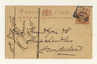 """GB - QV 1886 """"HULL"""" SQUARED CIRCLE DS ON 1/2d CARD TO SUNDERLAND"""