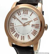 HUGO BOSS Black Herren Uhr Edelstahl rosegold Leder braun 1512716 > > > NEU