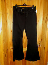 BENCH black casual cargo flare bootcut trousers jeans silver buckle BNWT 16 34