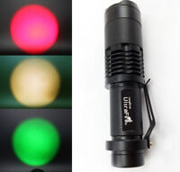 LED Flashlight Torch Zoomable Focus Light Red / Green / Yellow / White