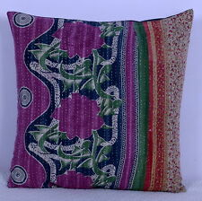 """20"""" VINTAGE KANTHA THROW PILLOW CUSHION COVER PATCHWORK Ethnic Indian Bohemian"""