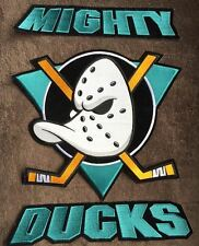 3 Piece Rare 1990's Anaheim Mighty Ducks Hockey Hoodie Jacket Back Patches Crest