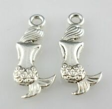 24pcs Mermaid Back Antique Silver Charms Pendants Jewelry Findings 8*20.5mm