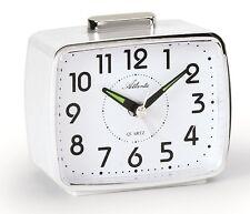 Réveil à quartz blanc avec sonnerie sur cloche, arrêt facile ATLANTA 1654/0 Neuf
