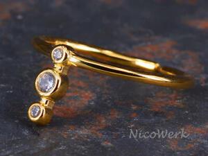Silberring Schlicht Schmal Golden Zirkonia Ring Silber 925 Verstellbar Offen