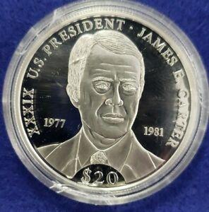2000 Proof .999 Silver Republic Liberia $20 President Carter .64ASW - FREE SHIP