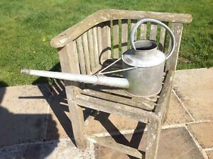 Vintage Haws Galvanised Long Reach Watering Can 1 Gallon with wire bracket