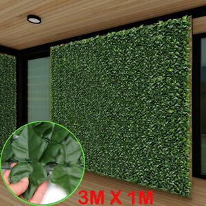 3m X1m Artificial Hedge Leaf Fence Roll Privacy Screen Balcony Wall Cover Garden