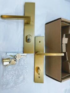 Emtek Brass 2 Keyed Entry Multi Point Trim Lever Set, 112B1US4 - Satin BRASS NEW