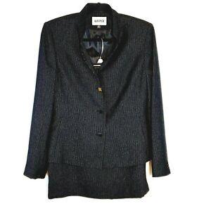 Kasper Womens 2-Piece Black & White Skirt & Blazer Suit Size 6