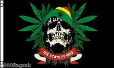 Rasta Skull Rastafariano Foglia di Cannabis 5'x 3' Bandiera