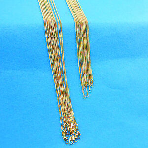 "16-30"" 10PCS Jewelry 18K Yellow Gold Filled Chain Flat Curb Necklace For Pendant"