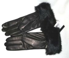 Coach $228 Black Leather Gloves with Rabbit Fur Cuffs  size 7 Medium New