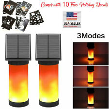 2 X Solar Powered Flame Torch Light Flickering Garden Wall Lamp With Decals