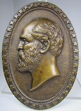 Antique President James Garfield Memorial Bronze Decorative Art Plaque