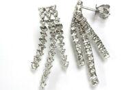 1.35 ctw Natural Diamond 14k White Gold 3 Strand Long Dangle Waterfall Earrings