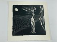 Vintage 1979 Lino Block Print Woman at Night Edvard Munch signed McConaughy