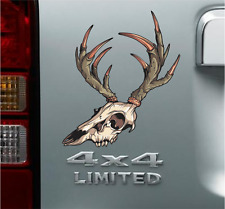Deer Skull Bow Hunting Vinyl Decal Sticker Buck Antlers Off Road Jeep Ford Truck