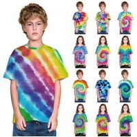 Tie-Dye Kid Boys/Girls T-Shirt Rainbow Circle Swirl Short Sleeve Casual Tee Top