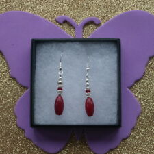 Beautiful  Earrings With Indian Ruby & Cz. Rondelle 3.6 Gr. 3.2 Cm.Long + Hooks