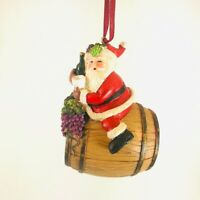 Santa Wine Barrel Christmas Tree Ornament Seasonal Wine Lover Kurt Adler 4.5""