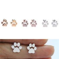 Fashion Women Dog Paw Print Stud Earrings Gold Silver Plated Earrings Jewelry FF