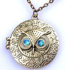 """Bronze Stylish 28"""" Necklace & Owl Photo Magnetic Locket / Pendant +GiftBag D501"""