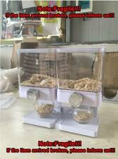 DRY FOOD STORAGE DOUBLE CEREAL DISPENSER CONTAINER DISPENSE MACHINE WHITE US