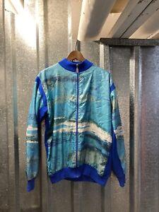 Agu Vintage Blue Grey Long Sleeve Cycling Full Zip Jacket Size 6  Medium -Large