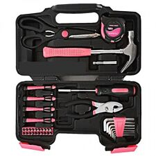 Yuanshikj Precision Tools Pink General Tool Set Homeowner's Tool Kit 39Piece