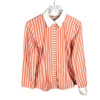 Tommy Hilfiger Size L Button Down Shirt Orange White Striped Long Sleeve Cotton