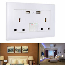 UK 13A 2 Gang Double Power Wall Socket Face Plate USB Charge Outlet Port Mains