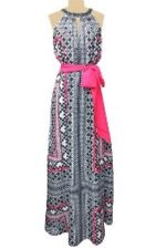 VINCE CAMUTO Dress Maxi Black Pink Graphic Halter Sleeveless 2 XS Summer Cruise