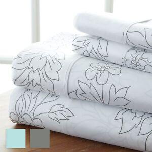Ultra Soft Vine Pattern 4 Piece Bed Sheet Set - Hotel Collection by iEnjoy