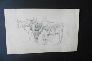 FRENCH SCHOOL 19thC - RURAL SCENE WITH OXES - FINE PENCIL DRAWING