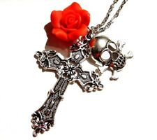 SILVER GOTHIC CROSS ROSE SKULL PENDANT NECKLACE Day of the dead red gothic 5H