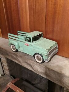 Vintage Pressed Steel Tonka Toys Green 1960's Stake Style Pickup Truck - U.S.A.