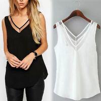 Women Sleeveless Loose T Shirt Lace Casual V Neck Tops Slim Chiffon FE