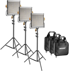 Neewer 3 Packs Dimmable Bi-color 480 LED Video Light &Stand Kit Nextday Delivery