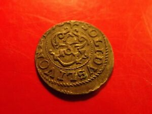RARE Sweden 1652 LIVONIA Queen Chistina Shilling solidus silver 30 year War coin