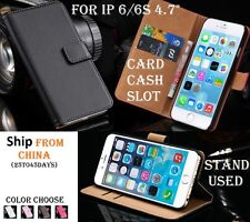 "GENUINE WALLET Case Leather Flip Cover iphone 6 6S 4.7"" Housse protection Cash"