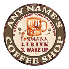 CP-0093 ANY NAME'S COFFEE SHOP Custom Personalized Chic Tin Sign Decor Gift Idea