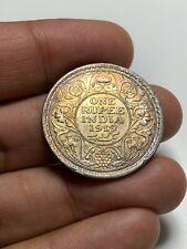 S63 British India 1919 Silver Rupee Mint Error Die Clash Toned