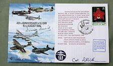 V-J DAY 40TH ANNIVERSARY 1985 COVER SIGNED BY WW2 PILOT GRP CAPT DENNIS DAVID