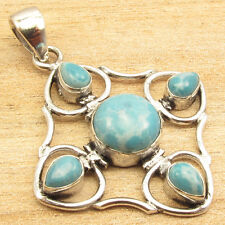 1.9 Inch Handwork Pendant ! Simulated LARIMAR 5 Gemstone SILVER PLATED Jewelry
