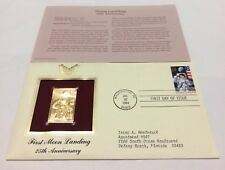 First Moon Landing 25th Anniversary Stamp, Jul 20 1994 FDC and 22kt gold replica